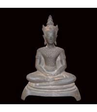 พระบูชาไม่ทราบวัด ล้อศิลปะอยุธยาทรงเครื่อง หน้าตัก 7 นิ้ว ผิวเก่า (หมวดพระบูชาองค์ที่ 311)