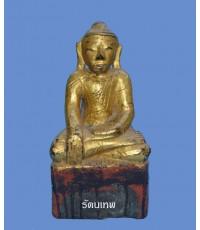 พระไม้พม่าเก่า หน้าตัก 5 นิ้ว ปิดทองเดิมๆ น่าสะสม (หมวดพระบูชาองค์ที่ 351)