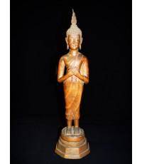 พระบูชารัชกาลยุคต้น ๆ  สูง 15 นิ้ว หล่อหนามาก ใต้ฐานดินไทย (หมวดพระบูชาองค์ที่ 368)