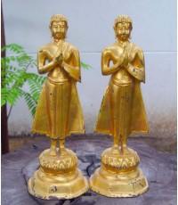 พระบูชา โมคคัลลา - สารรีบุตร ปิดทองเก่า สูง 18 นิ้ว (หมวดพระบูชาองค์ที่ 417)