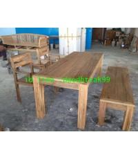 โต๊ะทานข้าวไม้สัก ม้านั่งไม้สัก เก้าอี้เดี่ยวไม้สัก