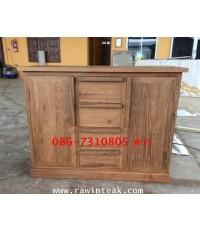 ตู้วางทีวีไม้สัก ตู้เก็บของไม้สัก 4 ลิ้นชัก 2 บานประตู มือจับเป็นไม้