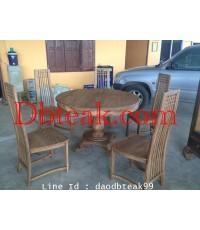 ชุดโต๊ะทานข้าวไม้สัก โต๊ะกลมไม้สัก ขนาด 100*100 ซม
