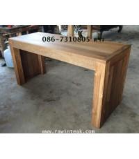 โต๊ะทานข้าวไม้สัก ขาตรง ขนาดขาหนา 4 นิ้ว ด้านข้างทึบ
