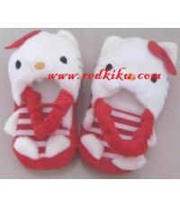 รองเท้าในบ้าน ของเด็กkitty แดง พร้อมสายรัดหลัง ใหม่