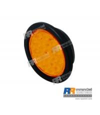 ไฟท้าย LED กลมใหญ่ (4 นิ้ว - 28leds) สีเหลือง ขนาด 24V - แบบขอบยาง