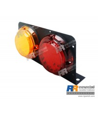 ไฟท้ายรถบรรทุก, รถ 10 ล้อ สต๊อปแลมป์ LED กลมใหญ่ (100leds) สีแดง+เหลือง ขนาด 12V และ 24V