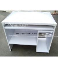 โต๊ะคอมพิวเตอร์ 90 cm ทำช่องแผ่นหน้าเต็ม ผิว PVC รุ่นขายจำนวน ราคาขายส่ง