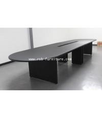 โต๊ะประชุม ตัวต่อ 400 cm ขอบมนหนา 36 mm จำนวน 10-14 ที่นั่ง