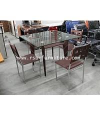 ชุดโต๊ะอาหารหน้ากระจก 90 cm พร้อมเก้าอี้ 4 ตัว