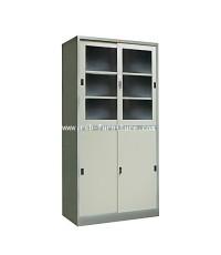 ตู้เหล็กบานเลื่อน บนกระจก-ล่างทึบ รุ่น PK-301