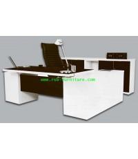 โต๊ะผู้บริหาร FACTOR SET มีไซด์บอร์ดด้านข้าง รหัส 1700 สีโอ๊คตัดขาว (ราคานี้ไม่รวมตู้ด้านหลัง)
