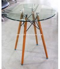 โต๊ะกระจก ขาไม้ รหัส 1791 งานดีไซน์
