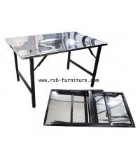 โต๊ะพับสแตนเลส มีทั้งขนาด 105*60 cm และ 115*75cm หน้าโต๊ะสแตนเลส