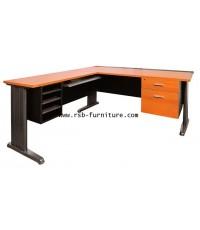 โต๊ะทำงานเข้ามุม+คีย์บอร์ด+ลิ้นชัก รหัส 1950
