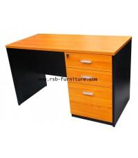 โต๊ะทำงาน ขาไม้ 3 ลิ้นชักเต็มถึงพื้น รหัส 1928 ขนาดกว้าง 120/150/180 CM