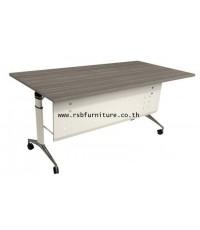 โต๊ะพับล้อเลื่อน TOP เมลามีน + แผ่นบังหน้าเหล็ก 160 CM รหัส 2051