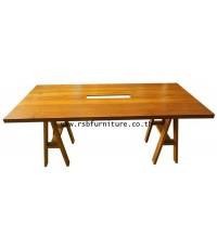 โต๊ะประชุม ไม้สัก เจาะรูกลาง Modern Style 6 ที่นั่ง 200 x 100 cm รหัส 2089