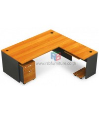โต๊ะทำงานผู้บริหาร 200x200 cm + ถาดวางคีย์บอร์ด+CPUล้อเลื่อน+ตู้2ลิ้นชัก ล้อเลื่อน รหัส 2303