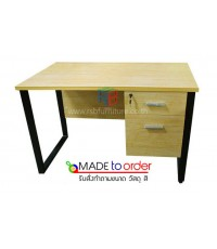 โต๊ะทำงาน2ลิ้นชัก ขาเหล็กกล่องตัวC ขนาด W120xD60cm เมลามีน รหัส 1534