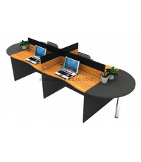 โต๊ะทำงานกลุ่ม 4ที่นั่ง WORKSTATION MINI SCREEN หุ้มเหล็ก ตัวต่อโค้งเพิ่มพื้นที่การใช้งาน รหัส 2671