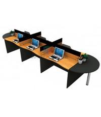 โต๊ะทำงานกลุ่ม 6 ที่นั่ง WORKSTATION MINI SCREEN หุ้มเหล็ก ตัวต่อโค้งเพิ่มพื้นที่การใช้งาน รหัส 2672