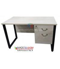 โต๊ะทำงาน2ลิ้นชัก ขาเหล็กกล่องตัว C ขนาด W120/150/180 CM รหัส 2714