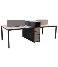 โต๊ะทำงานกลุ่ม WORKSTATION พร้อมฉาก ตู้ลิ้นชัก ขนาดW276 X D120 CM รหัส 2744