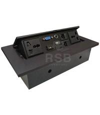กล่องไฟฝั่งบนโต๊ะ LAN+HDMI+ปลั๊ก+VGA+AUDIO ขนาด W 26.5 CM รหัส 2939