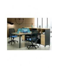 โต๊ะทำงานกลุ่ม 2 ที่นั่ง + ไซด์บอร์ดข้างเชื่อมยาวติดกัน ขนาด 160 x 240 cm. รหัส 2947
