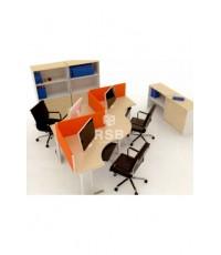 โต๊ะทำงานกลุ่ม 3 ที่นั่ง ขาเหล็ก WORKSTATION พร้อมฉากกั้นบนโต๊ะ ขนาด W. 340 x D. 170 CM. รหัส 2999