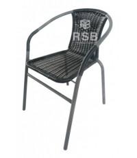 เก้าอี้หวาย สีดำ  โครงเหล็กสีเทา ใช้กลางแจ้ง รหัส 3092