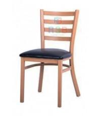 เก้าอี้ไม้ธรรมชาติ เบาะหนัง มีพนักพิง รหัส 3159