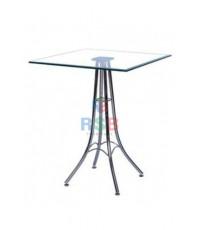 โต๊ะกระจก ทรงเหลี่ยม ขาโต๊ะเหล็ก ชุบโครเมี่ยม รหัส 3161