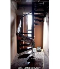 LD-B1264 บันไดเวียนเหลี่ยมเหล็กพื้นไม้ยาง Winder Staircase/Railing with Rubber Wood Plate