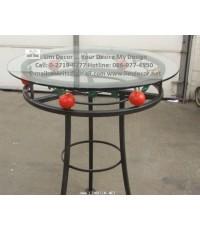 LD-E019 โต๊ะกลมอัลลอยพร้อมกระจกหน้าโต๊ะ Alloy Steel Round Table  Glass