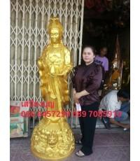 พระแม่กวนอิมยืนมังกร โลหะทองเหลือง พ่นสีทอง สูง 190ซ.ม แจกันตั้งมือประทานพร