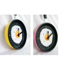 !!!ซื้อเป็นคู่ถูกกว่า!!! นาฬิกาแขวนรูปกะทะไข่ดาว - สีเหลือง + สีชมพู