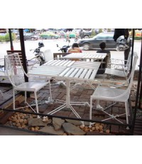 รหัสสั่งซื้อ 1014 :  ชุดเหล็กดัดหลังพิงลาย 3 ชิ้น โต๊ะเหลี่ยม