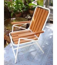 รหัสสั่งซื้อ 1027 : เก้าอี้ไม้ระแนงเหล็กกลมหลังพิงสูง