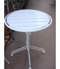 รหัสสั่งซื้อ 1039 :  โต๊ะกลมไม้ระแนงสีขาวขาสี่แฉก