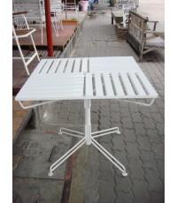 รหัสสั่งซื้อ 1033 :  โต๊ะเหลี่ยมไม้ระแนงสีขาวขาสี่แฉก
