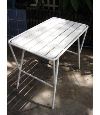 รหัสสั่งซื้อ 1034:  โต๊ะเหลี่ยมผืนผ้าไม้ระแนงสีขาว