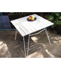 รหัสสั่งซื้อ 1035 :  โต๊ะเหลี่ยมไม้ระแนงจตุรัสสีขาว