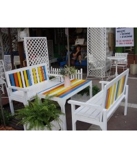 รหัสสั่งซื้อ 2007 :  ชุดรับแขกเก้าอี้ยาวไม้สักหลังพิงหลากสี