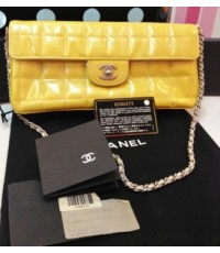 USED CHANEL chocolate bar patent leather สี camel