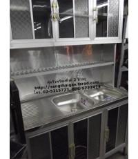 ตู้ครัวพร้อมซิ้งค์ล้างจานอ่างคู่ สแตนเลสอย่างดี ขนาด 1.20 เมตร ต่อด้านบนเป็นตู้ลอย