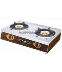 เตาแก๊สตั้งโต๊ะ 2 หัวเตา ยี่ห้อลัคกี้เฟลม รุ่น HQ-712 หน้าสเตนเลสแท้ หัวเตาทองเหลือง
