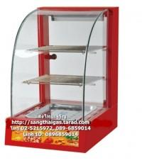 ตู้อุ่นโชว์อาหาร ตะแกรง 2 ชั้น ขนาด 1 ถาด กระจกโค้ง สีแดง