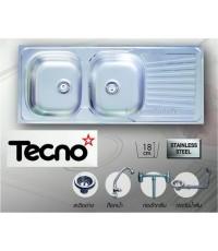 ซิ้งล้างจานแบบฝัง (เทคโน) TECNO 2 หลุม มีที่พักข้าง ขนาด 120/50 เซนติเมตร แถมก๊อกน้ำ